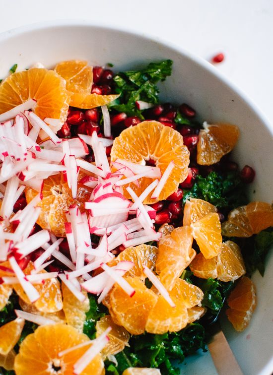 Kale Salad with Radish, Clementine, Pomegranate and Pepitas
