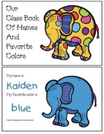Color activities: Cute elephant-themed name writing and favorite color worksheet. Collect, collate, add the cover & you have an instant class-made color booklet. :-) (2-on-a-page template for easy printing.)