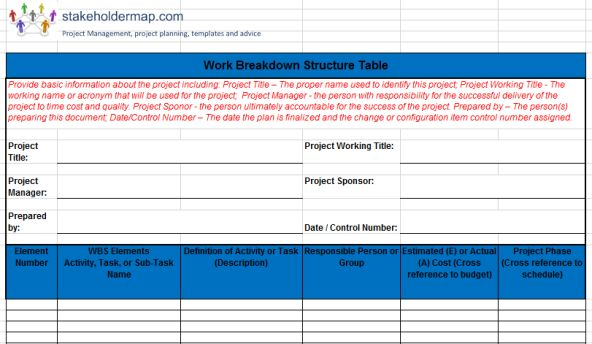 Download Excel WBS. This is a FREE Work Breakdown Structure (WBS) template in Excel and PDF. It documents the project WBS in table format.