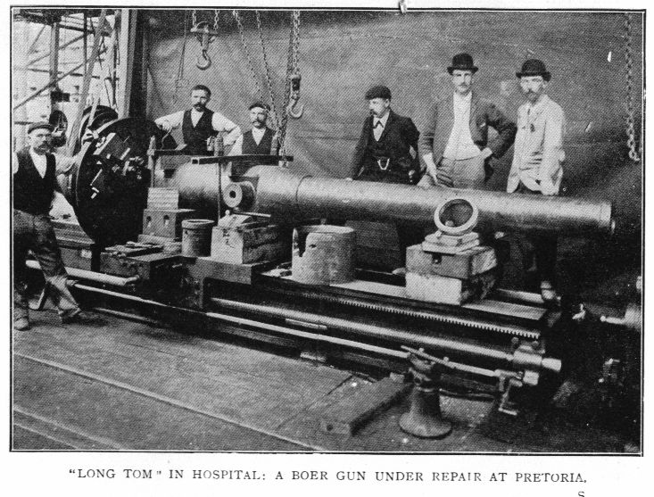Creusot Long Tom undergoing repairs in Boer workshop at Pretoria after British sabotage.