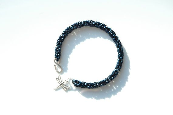 Blue Enamelled Copper Byzantine Chainmaille Bracelet by FionaKDesigns #handmade