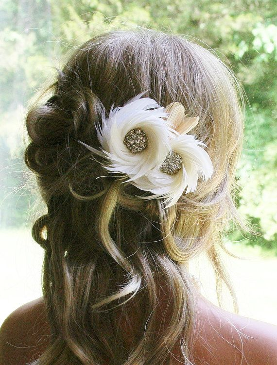 Wedding Headpiece Ivory Bridal Fascinator Bridal by Fancie Strands... can also be won by bridesmaids