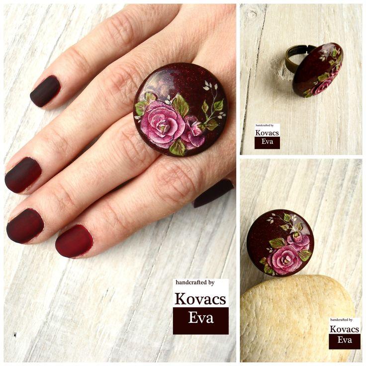Lila,bordó porcelán gyűrű.3D virágokkal. Purple,claret porcelain ring with 3D peony flowers.