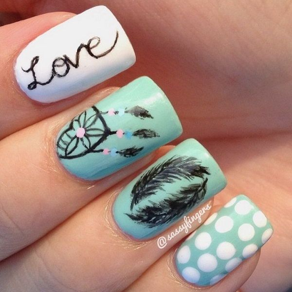 White and Green Nails with 'love', Dreamchatcher, Feather and Dots. Very pretty! I have to say, I am really into this feather design.