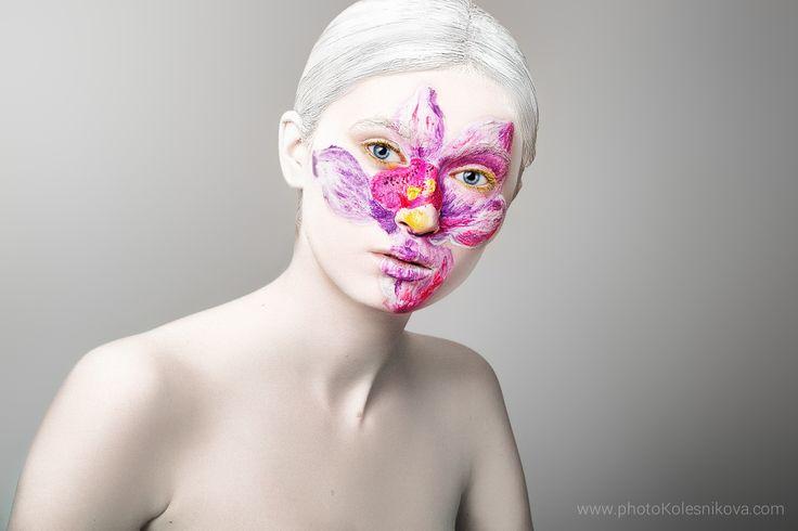 бьюти beauty creative makeup визаж портрет женщина цветок холст лилия