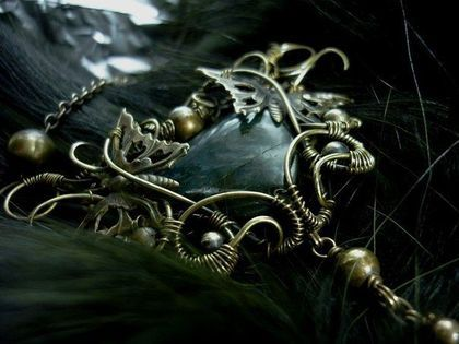 Кулон с лабрадором - пленницы )) - кулон на цепочке,подвеска латунная
