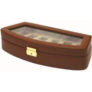 """Watch Storage Box Leather Case For 6 Watches Brown Tech Swiss. $44.95. Cushions To Fit Men's and Women's (3 1/2 L x 1 1/4 W) C Cushion Measure: 7 1/2"""". Watch Box for 6 Watches Brown Leather with See-Thur Glass Window. Frontal Lock and Key is Provided. Compartment to Fit Mens and Ladies Watches (Fits Watch Cases Up To 45mm). Case Dimension L 13 1/2"""" x W 6"""" x H 2 7/8"""". Save 50% Off!"""