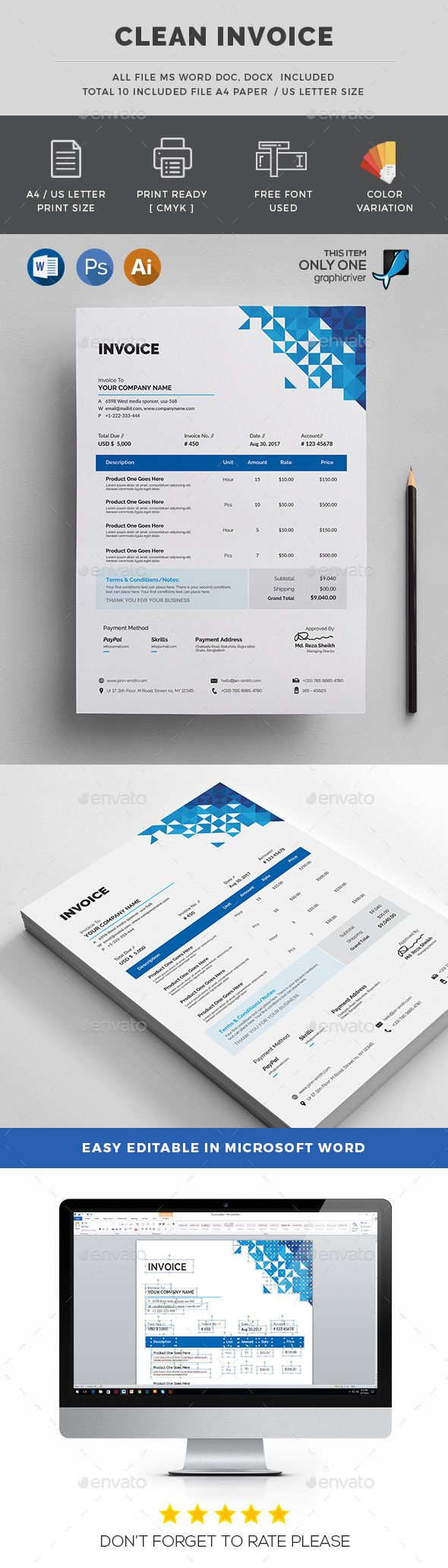 #Invoice - Stationery Print Templates Download here: https://graphicriver.net/item/invoice/19159633?ref=alena994