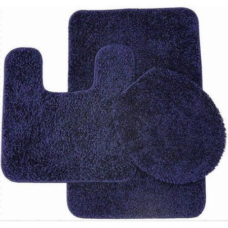 Layla 3 Piece Shag Bathroom Rug set- Bath mat, Contour and Seat Cover, Blue
