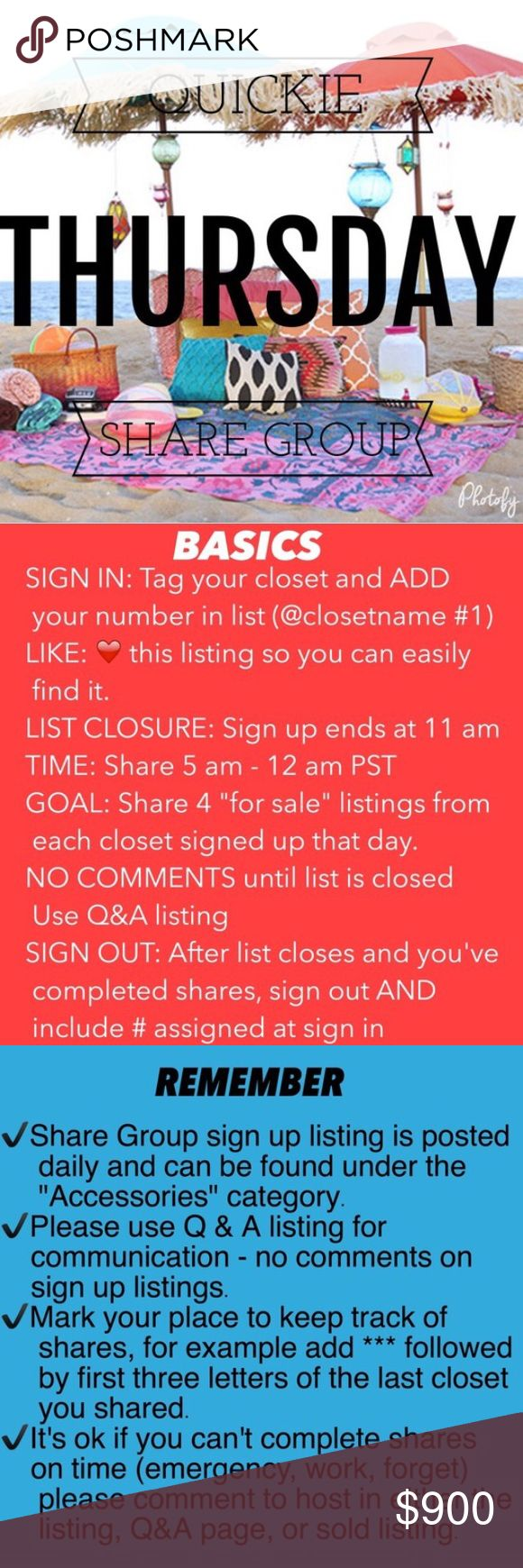 Thursday Quickie share group 10/13 ❤️Share 4 items from each closet  ❤️Share times 9am to 12midnight ❤️Sign up closes at noon Pacific (3ET)  ❤️Share before midnight your time!               ❤️Let's have fun sharing!                      If you have any questions please tag me @deesteinberg                                                  ❤️ ❤️Thank you for joining us today! Accessories