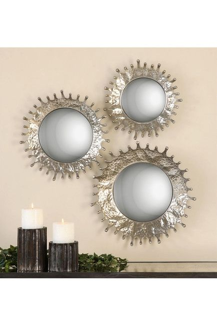 """$ 414 -Rain Splash Round Mirrors - Set of 3 - These rain splash mirrors feature hand forged metal frames finished in a plated, silver champagne surround the convex mirrors. - Set of 3 - Ready to hang - Imported  Set includes: Small: 15"""" W x 15"""" L x 3"""" D Medium: 17"""" W x 17"""" L x 4"""" D Large: 20"""" W x 20"""" L x 4"""" D"""