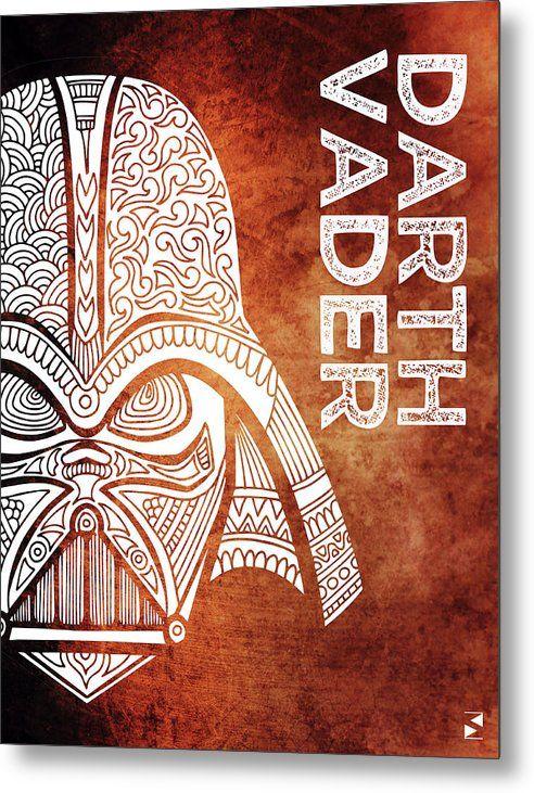 Darth Vader Metal Print featuring the mixed media Darth Vader - Star Wars Art - Brown And White by Studio Grafiikka