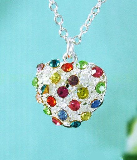 Taste the rainbow ♡ at https://www.etsy.com/listing/176186101/darling-colorful-crystal-heart-pendant