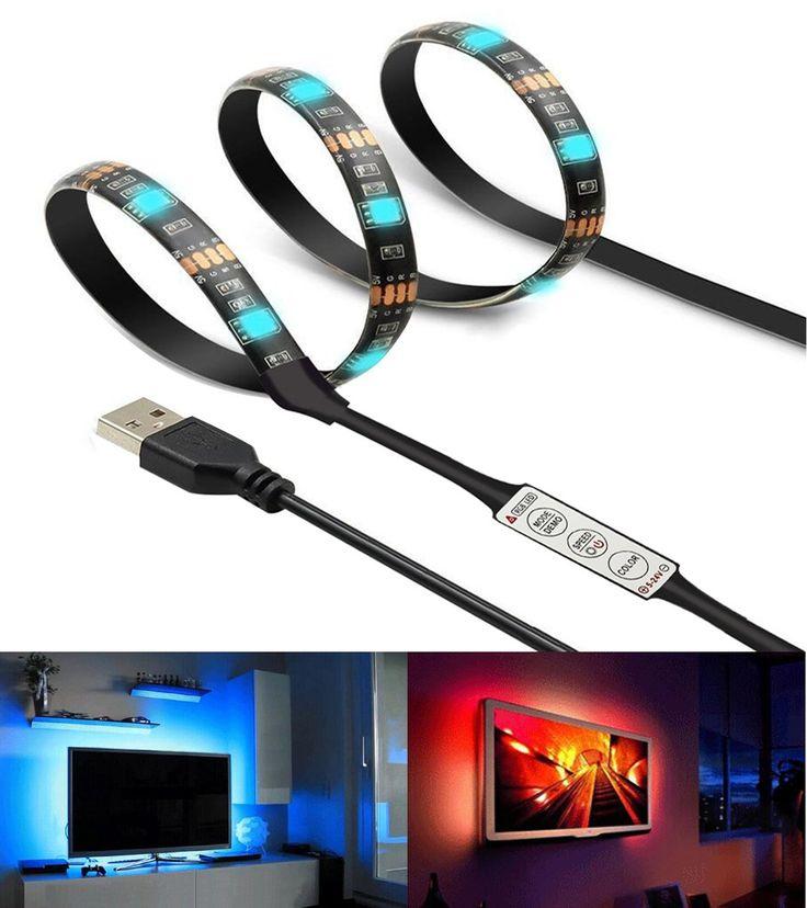 LEIMI 6.6Ft Led Strip Lights Waterproof TV Back Lights,USB Light Strip For 60 Inch Television,Changing Color string lights,Flexible RGB IP65 5050SMD High Brightness Rope Lights,Led Light Strip Black