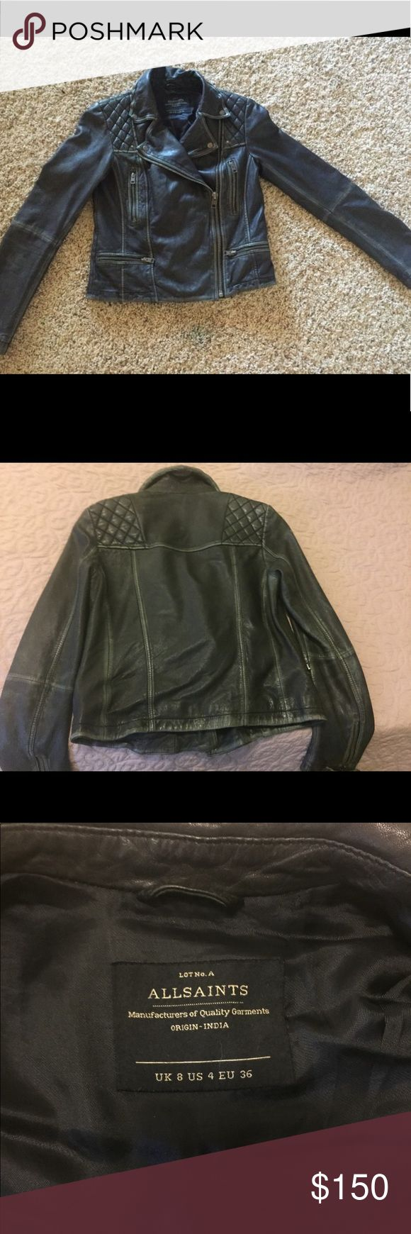 Genuine ALL SAINTS Black Leather Jacket This is incredible jacket. It retails for over $500, and unfortunately is a bit too small for me. USA size 4. All real leather, has a gorgeous olive green tone to the black/grey leather, and has manufactured wear (please see pics). Has only been worn a few times; in amazing condition! All Saints Jackets & Coats