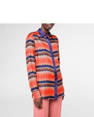 Paul Smith Women's Multi-Coloured 'No. 9' Print Silk-Twill Shirt