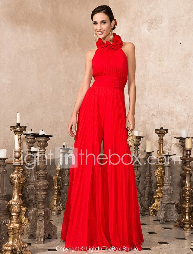 A-Line High Neck Floor Length Chiffon Prom Formal Evening Family Gathering Dress with Draping Flower(s) Ruching Pleats by TS Couture® 2018 - $111.99