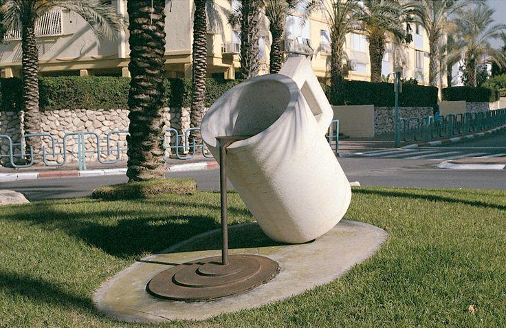 """Cup"". 2003.  Mitzpe Stone, Iron.  120 x 200 x 70 cm.  Ganey-Tikva, Israel."