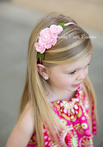 Pink Felt Headband  Felt Rose Headband  by SwankyPickleBoutique, $16.50