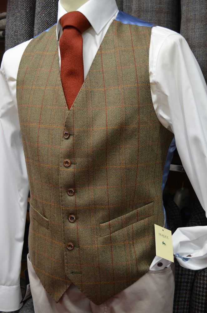 "Magee Pure New Wool Mens Tweed Waistcoat/Vest in sizes: 38""-48"" (403)"