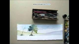 tutoriels sapins aquarelle anita jansen - YouTube