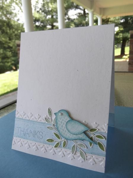 Bluebird on a Bed of Leaves thanks card by Roberta