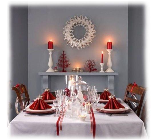mesa navidad con mantel blanco. | Sala y comedor