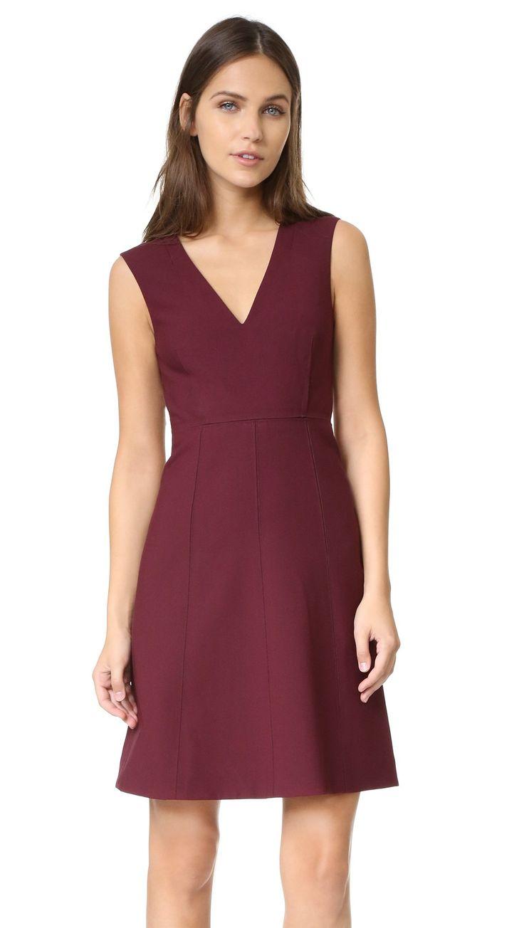 Elizabeth and James Women's Charlie Dress, Bordeaux, 2. Stretch weave. 54% polyester/38% viscose/8% elastane. 94% polyester/6% elastane. Dry clean. Width 34.75in / 88.5cm, from shoulder.