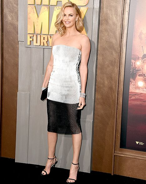 Charlize Theron stunned in a strapless black and white dress at the Mad Max: Fury Road premiere.