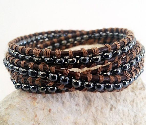 Men Leather Wrap Bracelet, Brown Leather Bracelet