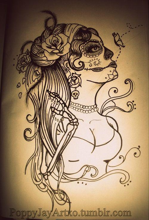 Day Dead Face Girl Of Tattoo The Sugar Skull   ear tattoo # tattoo # tattooed # gypsy tattoo