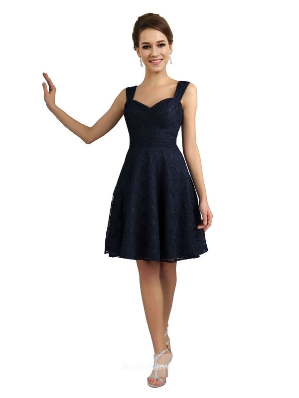 Cheap Right Gowns 2018 New Collection Sweetheart Short Knee Length Lace Dark Navy Strapless Bridesmaid Dresses 172036, Right Bridesmaid Dresses, Cheap Bridesmaid Dresses and Buy Discount Bridesmaid Dresses2018