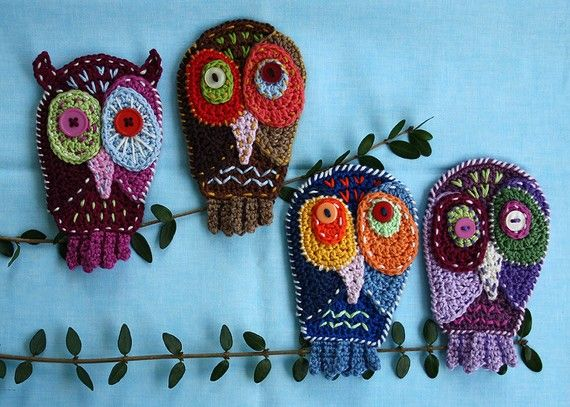 Crazy Owl - Crochet Pattern (Applique) by CAROcreated on her Etsy shop.
