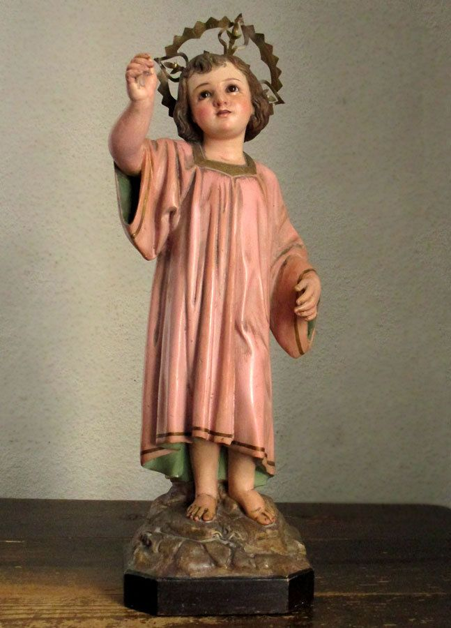 Etsy のYoung Jesus Raise the Right Hand on the Rock Mountain Religious Statue Child Jesus Christ Antique Olot Spain /820(ショップ名:GliciniaANTIQUE)