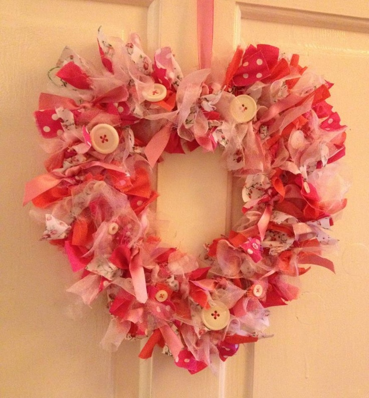 Heart shaped rag wreath made by me pinterest