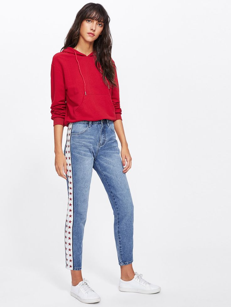 Shop Star Embroidery Side Faded Wash Jeans online. SheIn offers Star Embroidery Side Faded Wash Jeans & more to fit your fashionable needs.