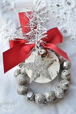 glass glitter jingle bell wreath tutorial   Little Birdie Secrets   Love this idea, but I think I'd like to leave the glitter off the bells...