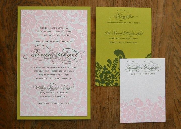 Tayla Letterpress Bat Mitzvah Invitation By Dauphine Press
