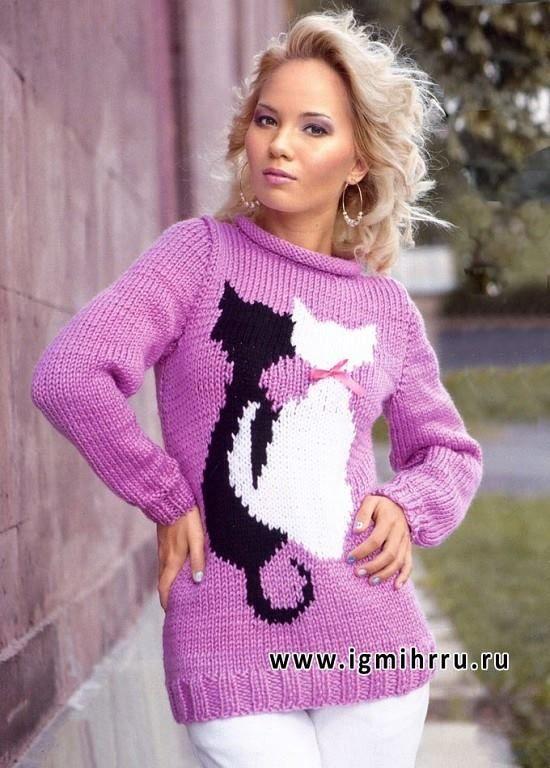 """Suéter gatos   Talla: 42/44  Necesitarás: 600 G HILADOS ADELIA """" Rada """" (100 % acrílico mezcla; de 80 m / 100 g) d..."""
