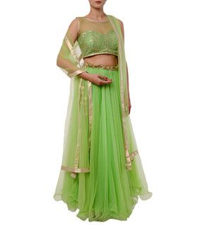 Green Embroidered Net Lehenga Skirt With Crop Top & Dupatta