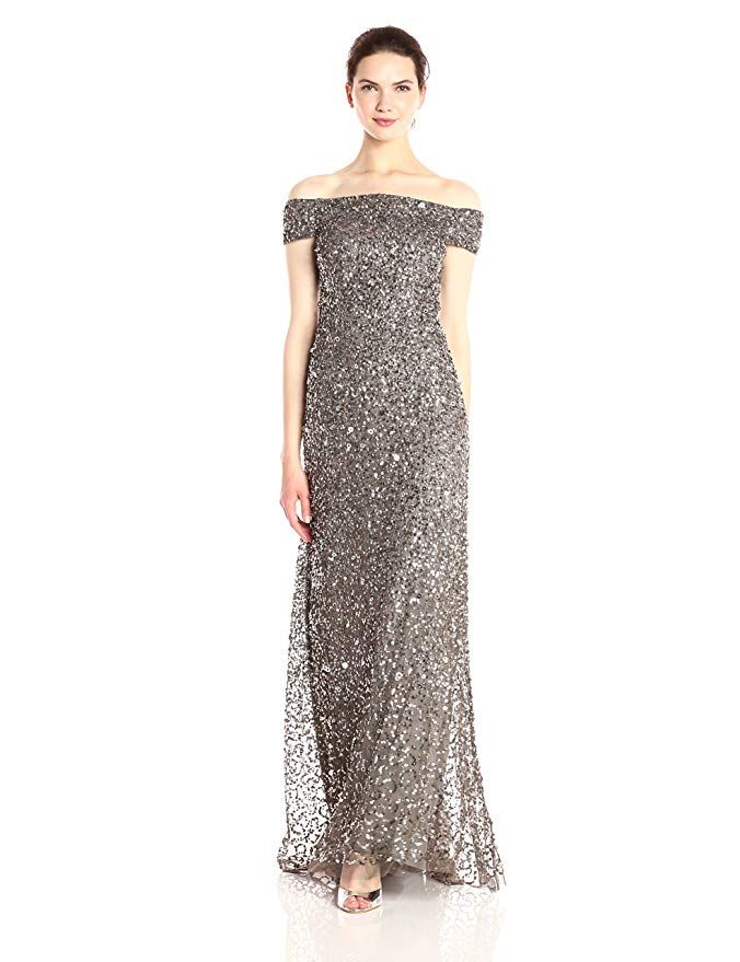 51be99b49d2a Adrianna Papell Women's Off The Shoulder Crunchy Bead Gown at Amazon  Women's Clothing store: