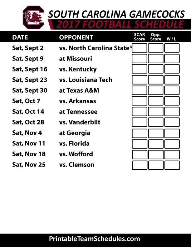 2017 South Carolina Gamecocks Football Schedule