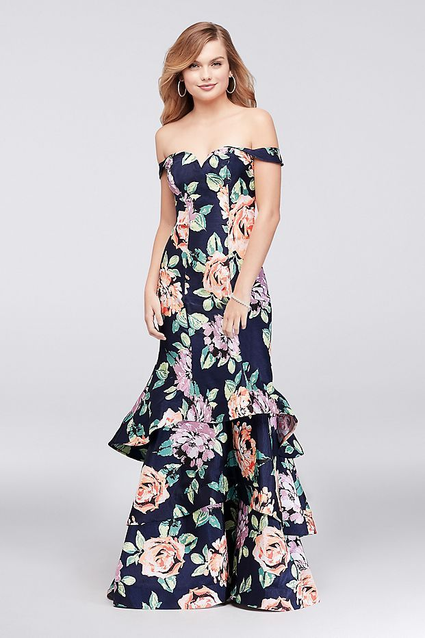 e12dedcde Floral Shantung Tiered Mermaid Dress | David's Bridal | prom 2k18 ...