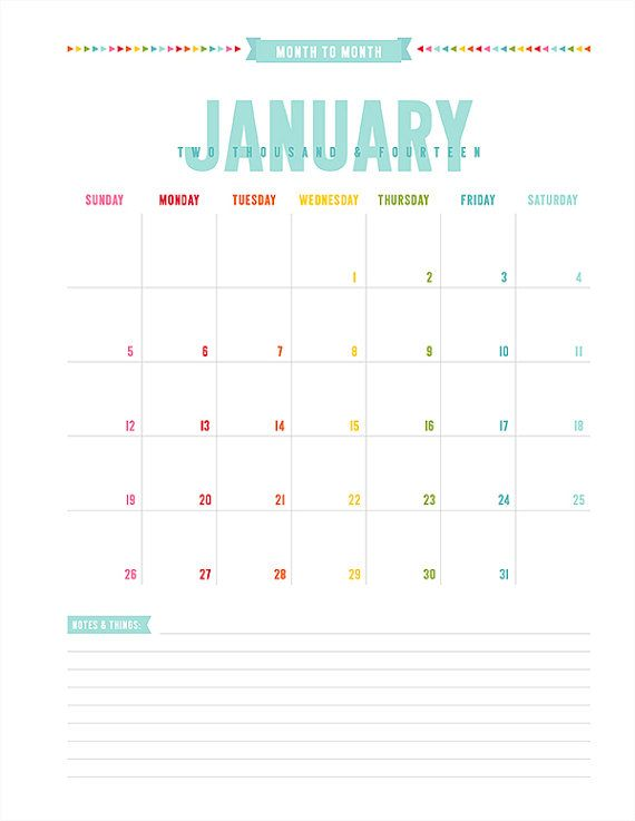2014 monthly calendar vertical printable pdf planner pages