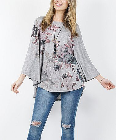 a33cc4ea97d 42POPS | Heather Gray Floral Poncho Tunic - Plus in 2019 | Zulilly ...