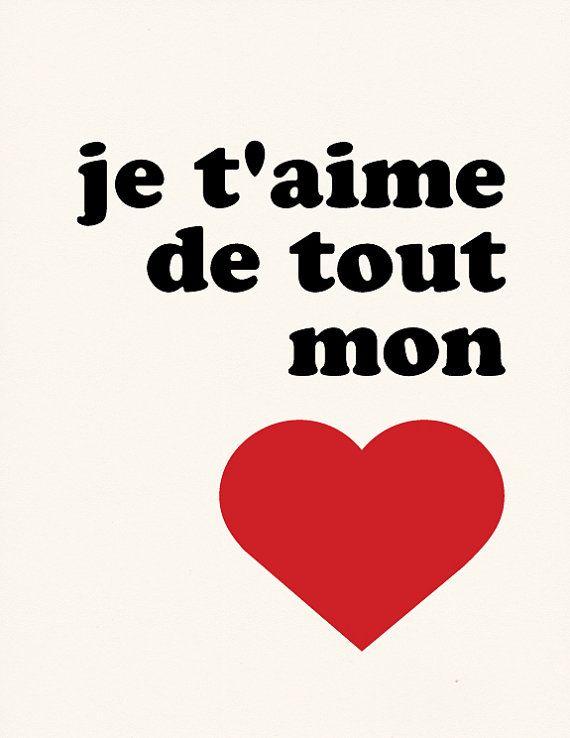 je t 39 aime de tout mon c ur french print mon coeur affiche et c ur. Black Bedroom Furniture Sets. Home Design Ideas