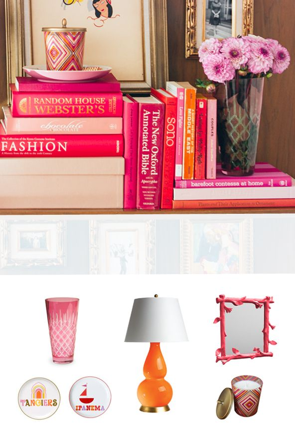 Pink-bookshelf-styling