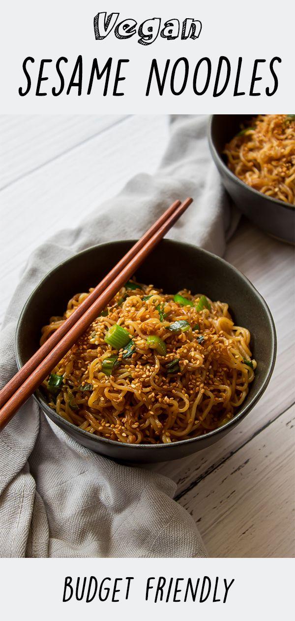 Vegan budget friendly sesame noodles