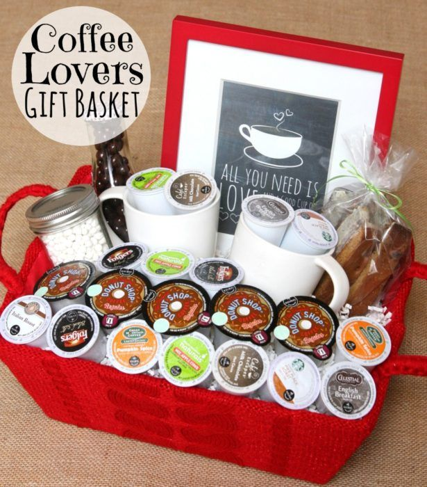 Coffee Lovers Gift Basket    If your guy does not start his day without his morning java, then this is the DIY gift basket to make. Add single serve coffee cups so they can make their own coffee at work or at home and treat themselves.