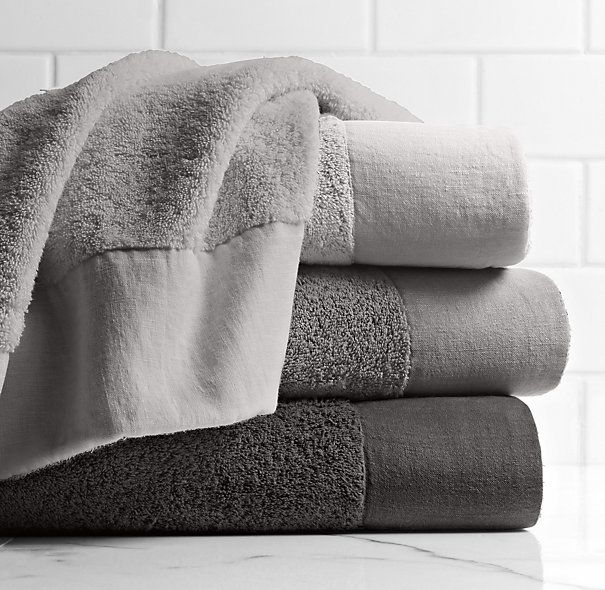 Linen-Bordered 650-Gram Turkish Towel Collection - Cool Grey